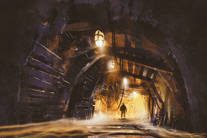 inside of the mine shaft with fog
