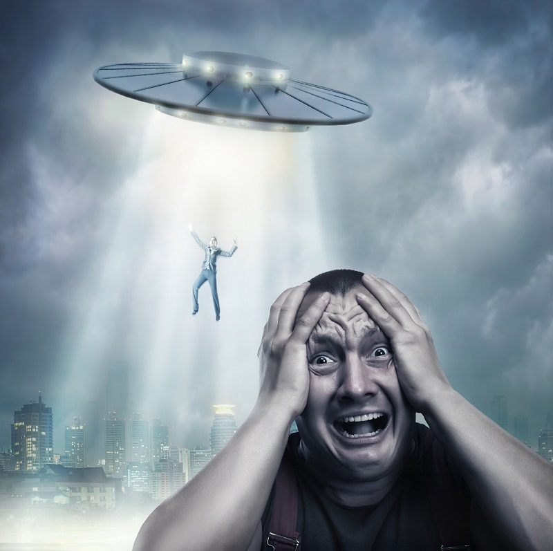 Adult man scared by UFO